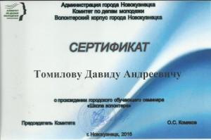 сертификат томилов